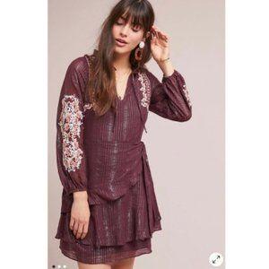 Anthropologie Dolan Amber Embroidered Wrap Dress